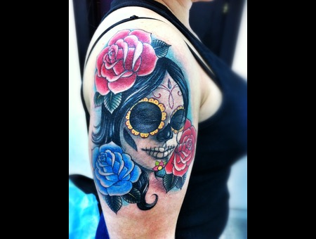 Chicano  Latino  Sugar Skull  Roses   Color