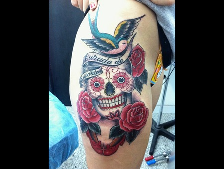 Sugarskull  Roses  Chicano  Catrina Color