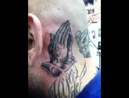 Chicano  Latino  Praying  Hands  Head Tattoo   Black White
