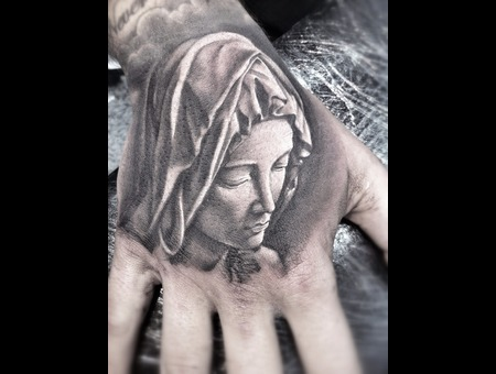 Pieta  Miguel Angel  Virgin  Hand Tattoo   Black White