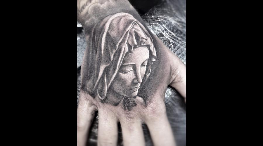 Pieta  Miguel Angel  Virgin  Hand Tattoo   Black White