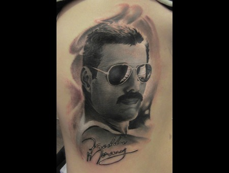Freddie Mercury Portrait Black Grey