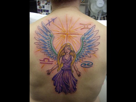 Back Tattoo  Angel Color