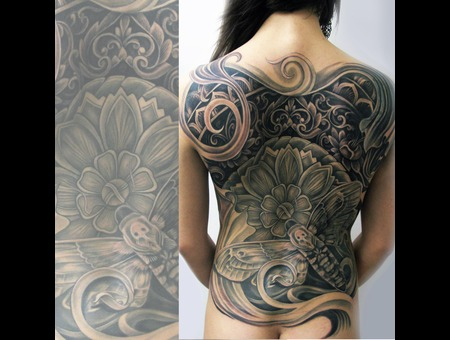 Bali  Back Piece  Ornate  Moth  Filigree Black White