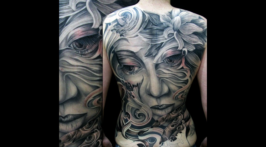 Back Piece  Face  Morph   Black White