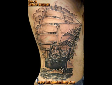 Ship  Pirate Ship  Star Of India Tattoo Black Grey