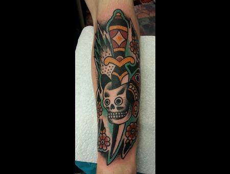 Dagger  Skull  Flowers Color