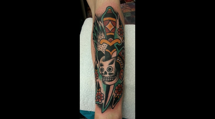 Dagger  Skull  Flowers Color