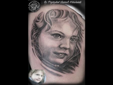 Portrait Of Girl Black Grey Arm