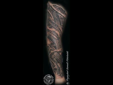 H R Giger  Organic. Bio Mechanical  Full Sleeve  Black Grey Arm