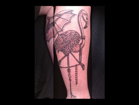 Flamingo Leg Tattoo Black White