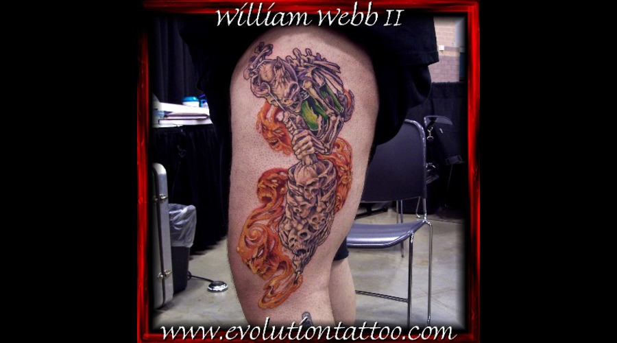 Tattoo Machine Skull Skeleton Needle Ink William Webb Color