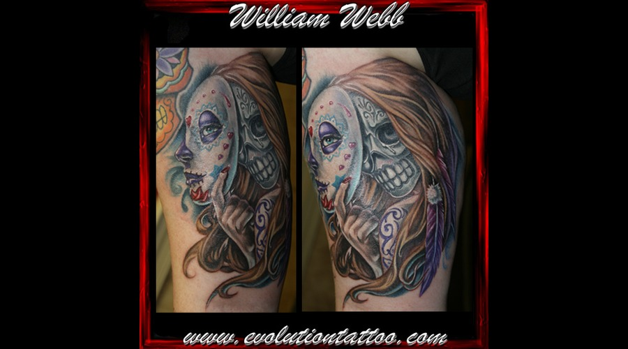 Day Of The Dead Mexican Skull Woman Mask William Webb Sugar Skull Color