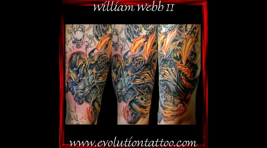 Motorcycle Bike William Webb Flames Color