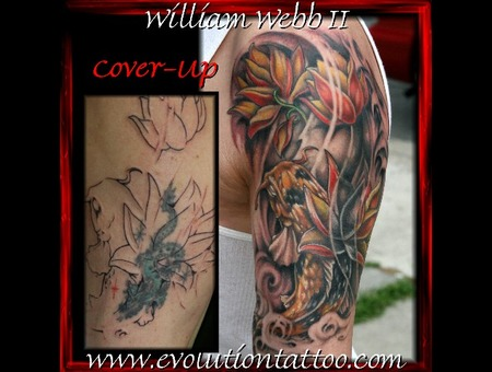 Japanese Cover Up Koi Lotus Flower Fish William Webb Color