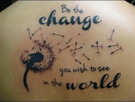 Script  Change  World  Dandilion Black White