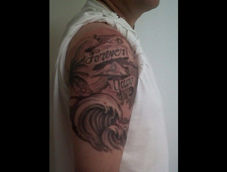 Ocean Tattoo  Family Memorial Tattoo  Wind And Waves Tattoo Black White