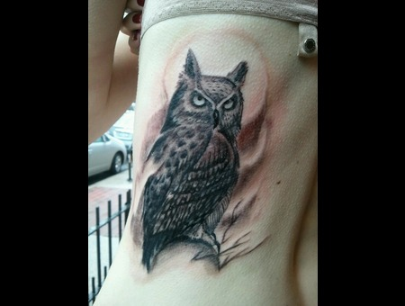 Owl Tattoo  Horned Owl Black White