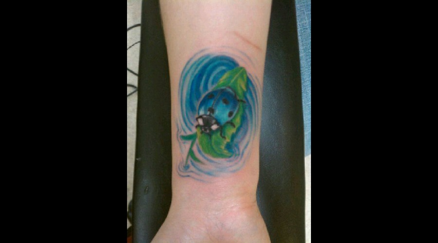 Insect Tattoo  Blue Ladybug Color