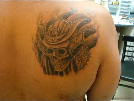 Samurai Helmet  Samurai Tattoo  Skull Tattoo Black White
