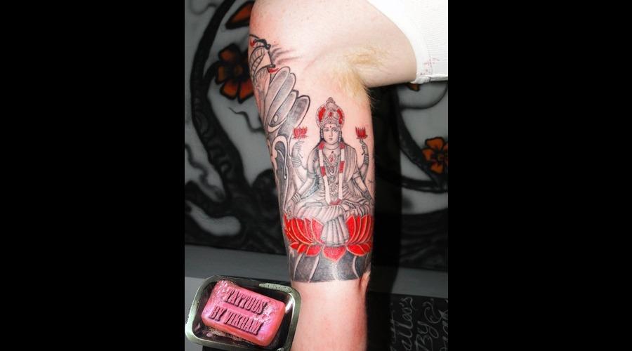 Laxmi Hindu Half Sleeve Black And Grey With Red  Goddess Vikram Color