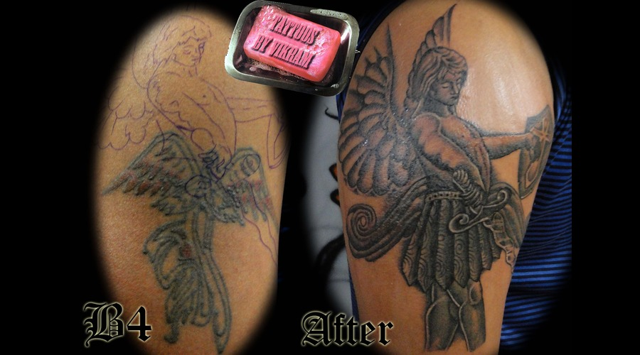Vikram Angel St.Micheal Christian Cover Up Religious Vikram Black White