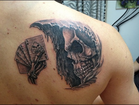Skull Tattoo Black White