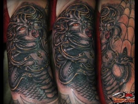 Meduza Lot Of Crazi Tattoo Fun:) Black White Arm
