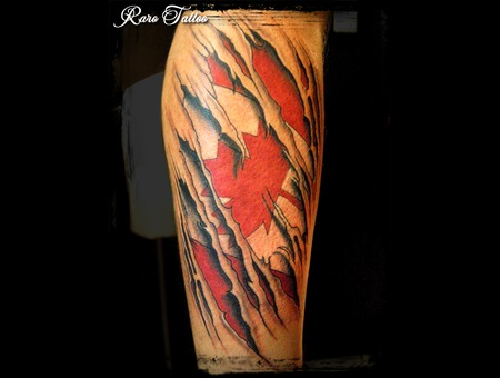 Canadian  Canada  Flag  Tattoo  Red  Calf Color