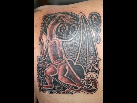 Celtic Black And Grey Dragon Kanji Shoulder Tattoo Black White