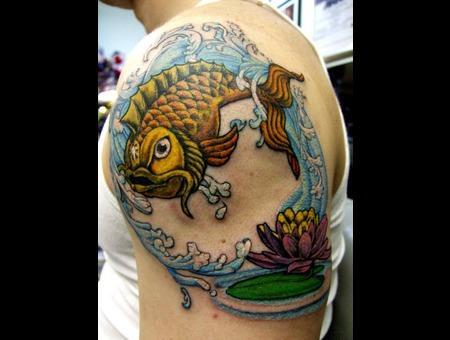 Koi  Fish  Lotus Color