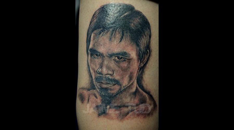 Pacman  Pacquiao  Portrait  Realism Black White