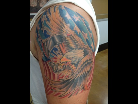 Patriotic American Flag Bald Eagle  Color