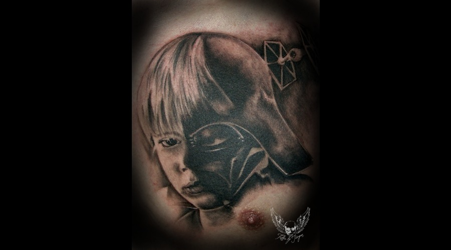 Star Wars  Anakin  Portrait  Jürgen Platzer Tatto Black Grey