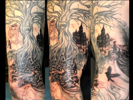 Sleeve  Birds  Grave  Tree  Roots Black White