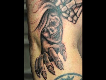 Girl  Skull Face  Ripped Nails Black White