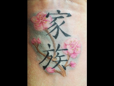 Wrist Tattoo  Cherry Blossoms Color