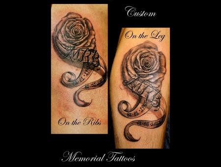 Memorial Tattoo  Flower  Banner  Rose Black Grey