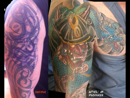 Japanese  Sleeve  Coverup  Samurai  Helmet  Kobuto  Irezumi  Horimono Color Arm