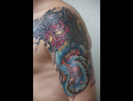 Japanese  Halfsleeve  Hannya  Snake  Hebi  Irezumi  Horimono Color Arm