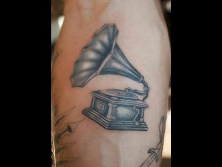 Phonograph  Record Player  Gramophone  Brush Realistic Tattoo