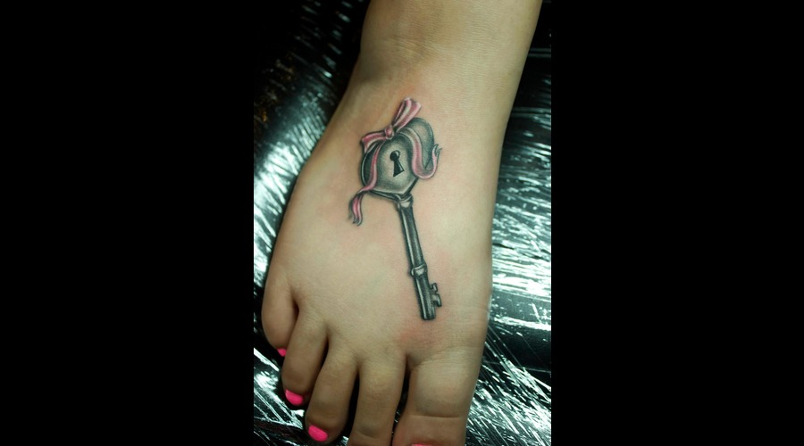 Realistic Key  Foot Tattoo  Heart Shaped Key  Pink Bow Color