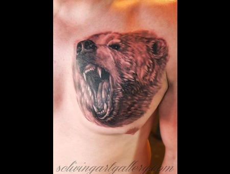 Realistic Bear  Chest Piece  Animal Realism Black White
