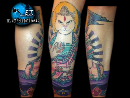 Buddha  Cat  Japanese  Leg Piece Color
