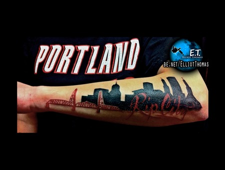 Portland  Blazers  Rip City  Forearm Piece Black White