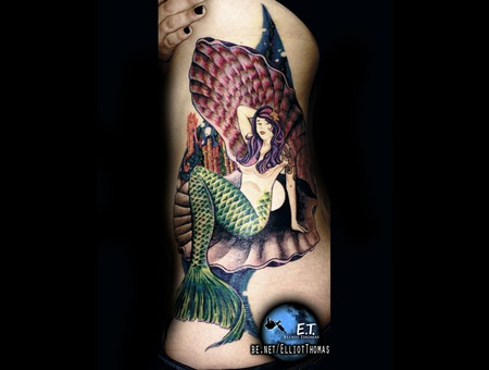 Side Piece  Mermaid  Bright  Water Color