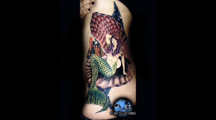 Side Piece  Mermaid  Bright  Water Color