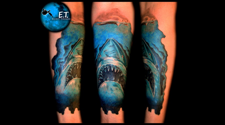 Jaws  Shark  Bright Color  Forearm Piece  Steven Spielberg Color