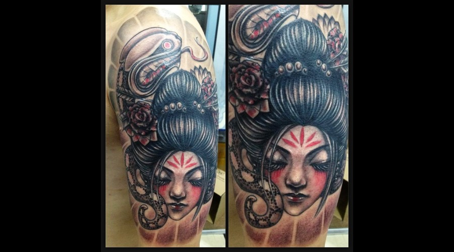 Geisha  Snake  Cover Up  Japanese  Oriental   Color Shoulder