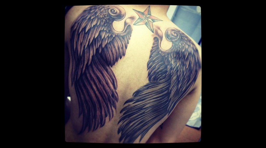 Wing  Back Piece  Devil And Angel Black Grey Back